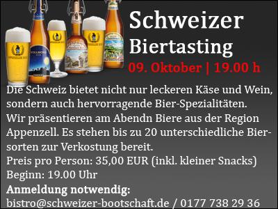 Biertasting in der Schweizer Bootschaft