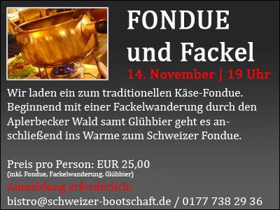 Fondue und Fackel am 14. November