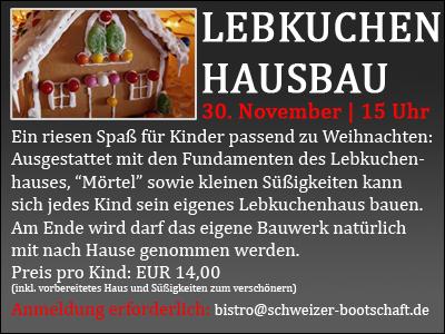 Lebkuchenhaus-Bau für Kinder am 30. November